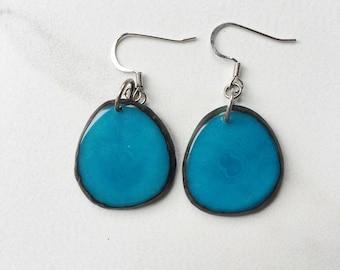Turquoise light weight earrings / Tagua nut Earrings / Blue aqua teal Earrings / eco friendly jewelry / Tagua nut Jewelry / Sela Designs