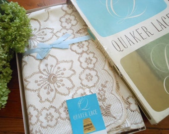 Never Used Vintage 1950's  Quaker Lace Tablecloth In Original Box Pattern 4844 Florentine Free Shipping NOS Tablecloths