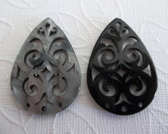 Black & Grey Filigree Teardrop - 40X28mm Connector or Pendant - Lacy Laser Cut - Two-Sided - Lucite from Germany - Qty 1