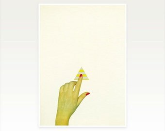 Surreal Collage Art Print, Hand Art, Minimalist Vintage Wall Art - Press the Button