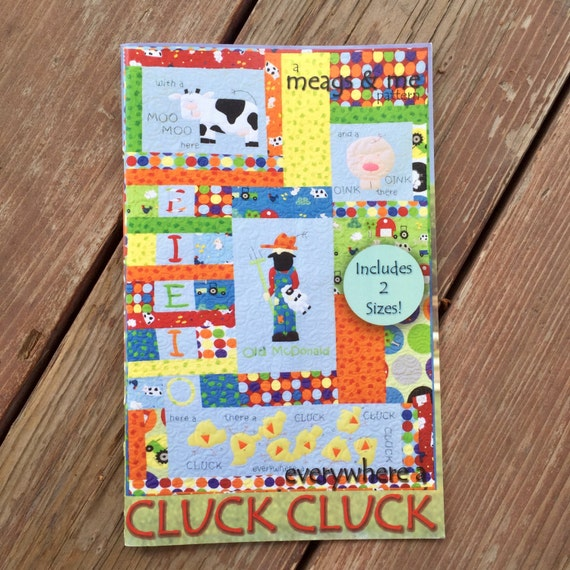 SALE Hardcopy Pattern- Everywhere a Cluck Cluck. Farm Quilt Pattern. Old Mcdonald. Old MacDonald pattern. Appliqué Animals.
