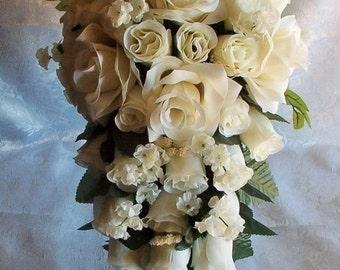 2pc Silk Wedding Bouquet CREAM IVORY Bridal Cascade Groom's Boutonniere