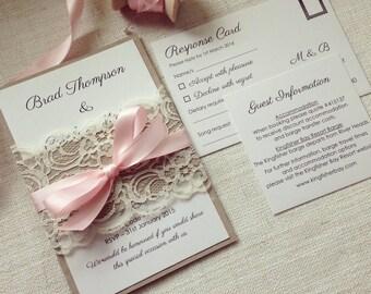 Wedding invitation Rustic Blush Lace wedding invitation Kraft & Blush Lace wedding invitations