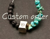 Lava and Turquoise Necklace and Bracelet Set