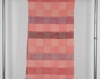 Vintage Hungarian Rag Rug. Coral Pink  Check. Hall Runner.  Long Corridor Rug.