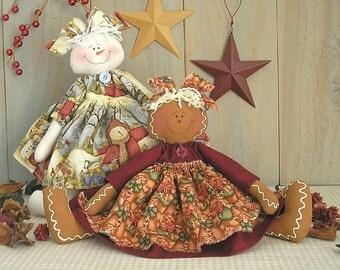 PDF e-Pattern Primitive Raggedy Doll Gingerbread Snow Gal Easy Fast Christmas Holiday Beginner Sewing Craft Folk Art Cloth Decor