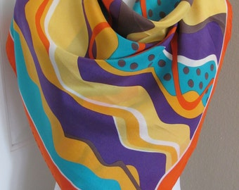 "Guy Laroche //  Colorful Soft Silk Scarf // 30"" Inch 76cm Square // My Favorite"