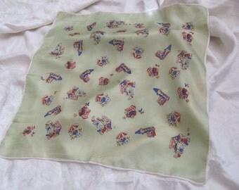 "Beautiful Antique Pale Green Small Silk Scarf // 18"" Inch 48cm Square (#5)"