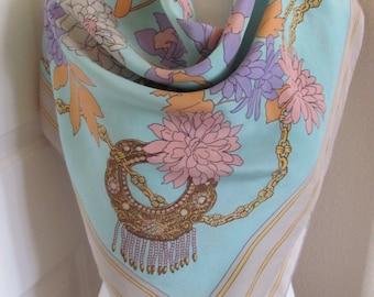 "Jodhpur Paris // Lovely Beige Green Soft Silk Scarf  // 34"" Inch 88cm Square // Best of the Best"