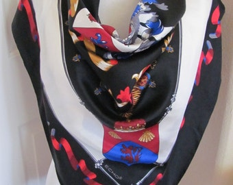 "ECHO Scarf // Black White Crest Soft Silk Scarf  // 36"" Inch 92cm Square // Best of the Best"