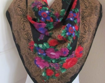 "Beautiful Black Colorful Floral Soft Silk Scarf // 30"" Inch 76cm Square"