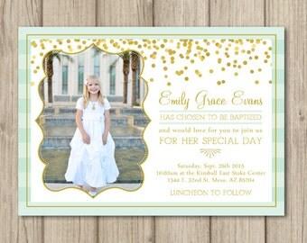 LDS BAPTISM INVITATION, lds baptism invitations, lds girl baptism invitation ~ Gold Confetti 5x7