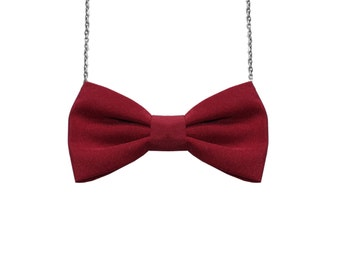 Wine Red - Bow Tie Necklace, Women Bowtie Accessory Dark Red Burgundy, Velvet comic Con Dr Who Pretied Bow for Women