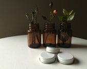 Three Sweet Small Apothecary Amber Brown Bottles // With Lids