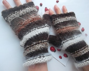 HAND KNIT GLOVES / Women Accessories Fingerless Mittens Elegant Warm Wrist Warmers Arm Crochet Winter Feminine Romantic Cabled Striped 1029