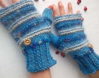 KNITTED GLOVES / Women Accessories Fingerless Mittens Elegant Warm Wrist Warmers / Crochet Winter Feminine Romantic Cabled Striped Gift 1042