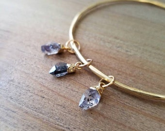 C O S M O S //  24k gold plated triple herkimer diamond bangle