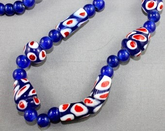 Vintage Necklace Glass Handmade Millefiori Beads