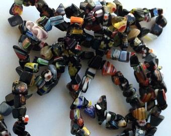 "Black Millefiori Glass Mini Chip Beads 34"" Strand 4mm Jewelry Design Bead Supplies"