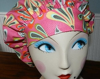Cabana Blooms  Banded Bouffant Surgical Cap by Nurseheadwear