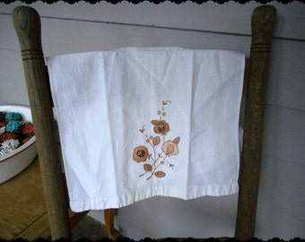 Vintage Cotton Linen Floral Hand Towel, Tea Towel  Cotton / Linen with an earthy floral embroidered design
