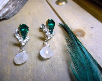 Hunter's Moon. Emerald Rhinestone & Genuine Rainbow Moonstone post and dangle earrings.