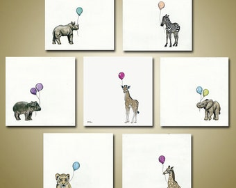 PRINT or GICLEE Reproduction -- Nursery Room Art - Baby Animal Art - Baby's Room - Single or Set