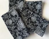 Large cloth napkins, Black and white cloth napkins,wedding napkins,handmade napkins,napkins,reusable dinner napkins,eco friendly napkins
