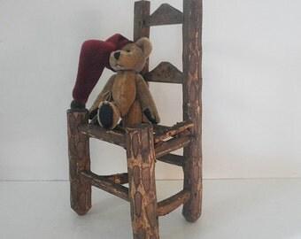 Vintage Miniature Primitive Chair Souvenir Asheville NC Twig Furniture Pyrography