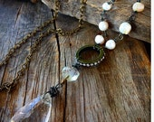 Long gypsy crystal necklace Pearl handmade gift shavby chic vintage boho rustic industrial Joellieboutique joellie jewelry gupsy glam