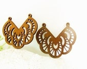 WP03 / # 13 Coffee / Wood Filigree Lace Dangle For Earring/ Laser Cut Lace Charm / Pendant / Romantic Chic Bohemian Filigree Dangle