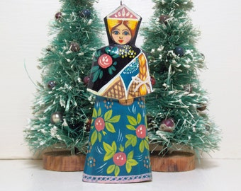 Russian Blonde Hair Lady in Blue Dress Lacquer Wood Ornament