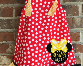 Disney Minnie Mouse Inspired Dress with Tie Knot Straps and Ruffle Applique and Monogram