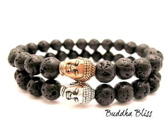 TWO Lava Rock Buddha Energy Bracelets,  Zen, Mens, Lava Rock, Mens Bracelet, His and Hers, His & His, Stone, Stretch Bracelet