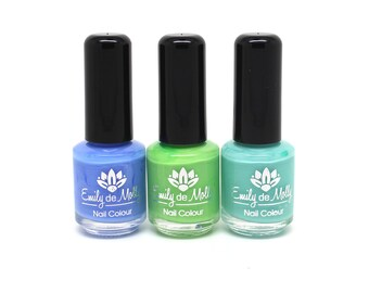 Stamping polish - Trio 4 - powder blue, lime and robin egg blue