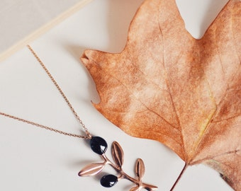black olive branch necklace - free shipping