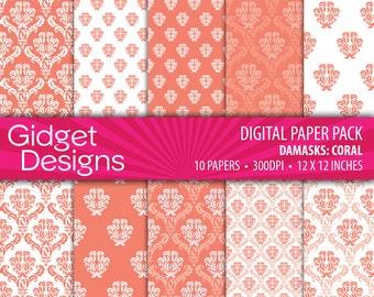 Coral Digital Paper Pack Coral Damask Patterns Coral Scrapbook Paper Printable Paper DIY Wedding