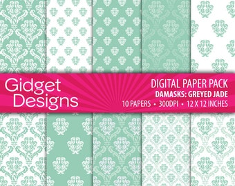 Green Digital Paper Pack Green Damask Patterns Grayed Jade Green St Patrick's Day Instant Download Printable