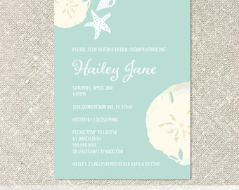 Beach Invitations, Sand Dollar Invitations, Baby or Bridal Shower Invitations, Birthday Invitations  - Customized Printable File