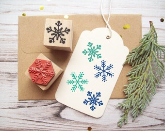 Snowflakes Rubber Stamp Set of 2, Decorating and Christmas Crafts, Holidays, Winter Theme