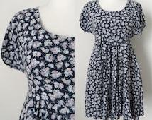 90s Grunge Navy Floral Print Short Sleeve Babydoll Mini Dress Hipster Boho size Small