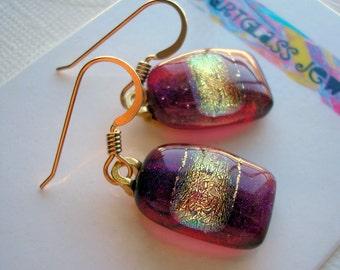 Dark Red Dichroic Glass Earrings 14K Gold Earwires Ruby Red Earrings Garnet Red Earrings Color Shifting Fused Glass Dangle Earrings Dichro