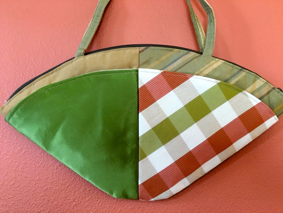 Lu Lu 1501  Moss Green, Orange and Tan Fan Shaped Purse, Up Cycled Fabrics