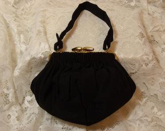 """Vintage Black """"Spot-Lite"""" Purse, Evening Bag, by L&M 1950's"""