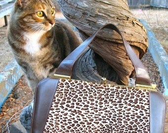 Madmen 60s  Fabulous Leopard Print Pony Fur And Leather Kelly Bag  With Gold Hardware