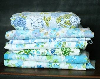 Vintage Sheet Fat Quarter Bundle - Aqua/Light Blue Floral Mix - Set of 7