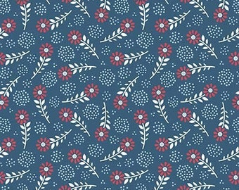 Navy Red and White Floral Patriotic Cotton Fabric, Parade on Main By Samantha Walker for Riley Blake, Parade Floral Print in Blue, 1 Yard