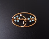 Antique Art Nouveau 10k gold Forget-Me-Not brooch with baroque pearl & turquoise blue enamel