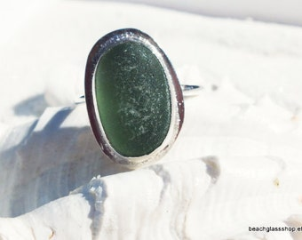 Sea Glass Ring -  Sterling Ring -  Beach Glass Ring -  Size 8 1/2 Ring - FREE Shipping inside the United States