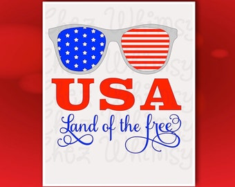 USA Sunglasses SVG, Red White and Blue Sunglasses, 4th of July svg Design, Land of the Free svg, Stars and Stripes svg File